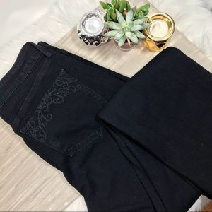 NYDJ Black Straight Leg Embellished Pocket Jeans